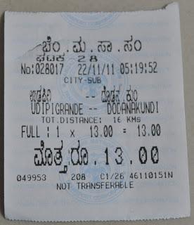 BMTC Bus Ticket D5