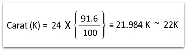 Gold Carat Calculation 22K